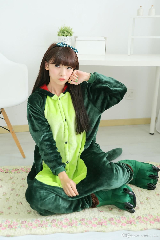 Vert Dinosaur Lion Adult Pyjamas Pyjamas Anime Femmes Cosplay Animal Cartoon Adultes Onesies Pyjamas Drôles Ensembles de pyjamas Godzilla Halloween