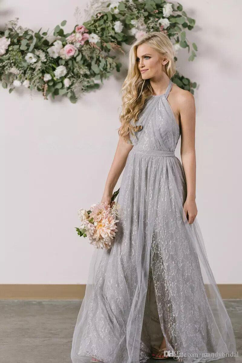 2018 fairy lace bridesmaid dresses light gray side split backless 2018 fairy lace bridesmaid dresses light gray side split backless maid of honor dresses pleats tulle wedding party dresses long floor length silver ombrellifo Choice Image