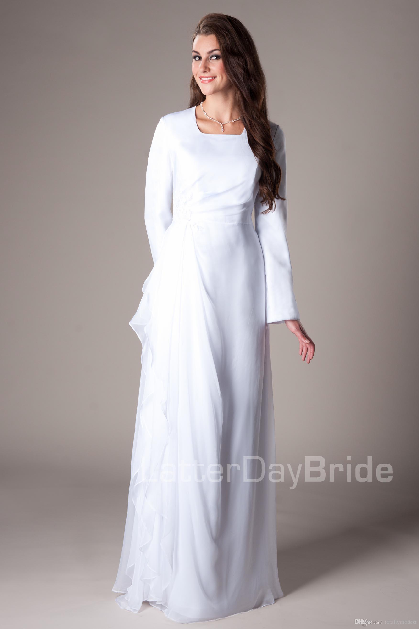 Discount Informal White Chiffon Temple Modest Wedding Dresses With ...