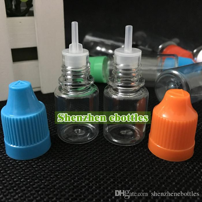 Freies Verschiffen Plastikflaschen 5ml Empty Bottle PET-Kunststoff-Tropfflasche mit langen dünnen Spitzen und Kindergesicherte Caps Großhandel Tropfflasche