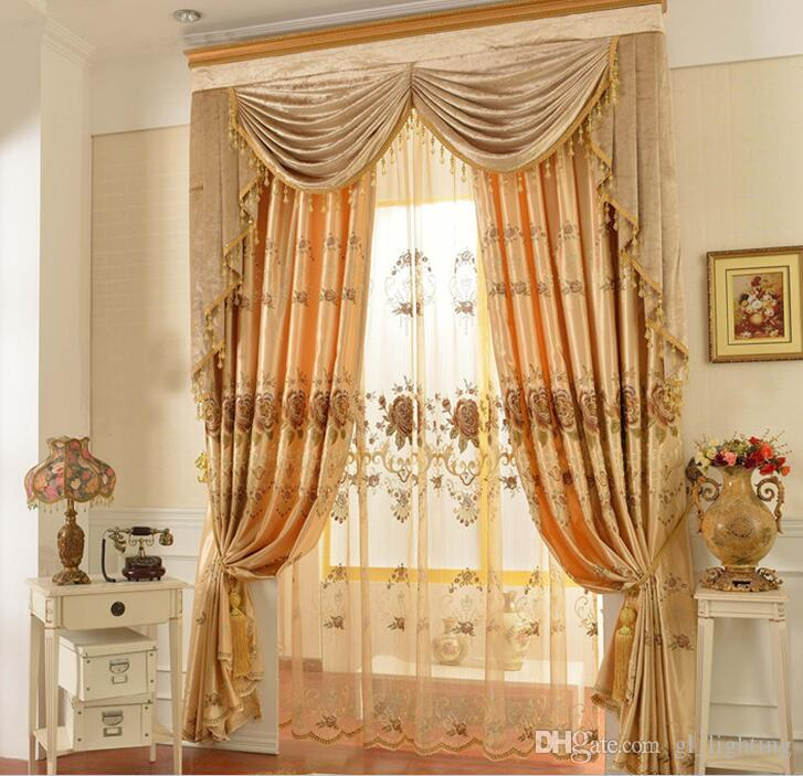 2017 Modern Jacquard Golden Blackout Embroidered Tulle Sheer Curtains  Living Room Girls Bedding Room Voile Sheer Curtains Sheer Drapery Window  Sheer From ... Part 86