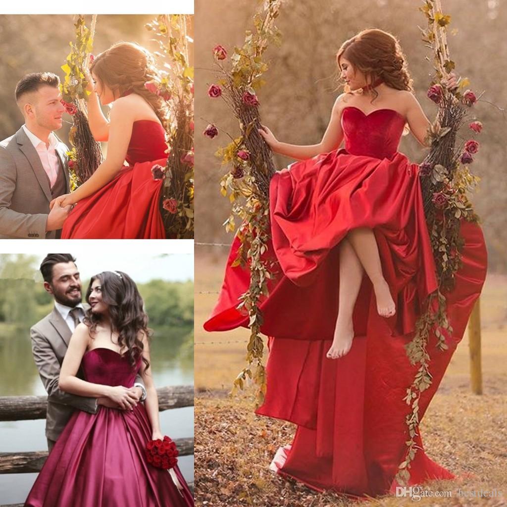 red velvet wedding dress | Wedding