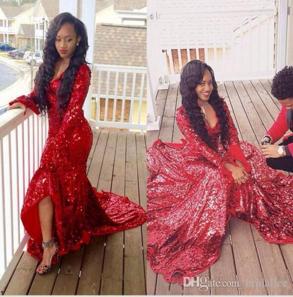 2016 Brilliant Sequined Prom Dresses Red V Neck Long Sleeve Side Split Mermaid Dresses Gorgeous Court Train Custom Made Long Sleeve Evening