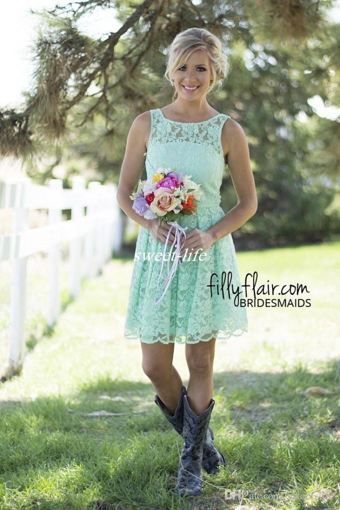 2019 Country Mint Green Lace Mini Mini Dama de honor Vestido formal para junior y adulto Dama de honor Duración de la rodilla Duración de la boda Vestidos de fiesta
