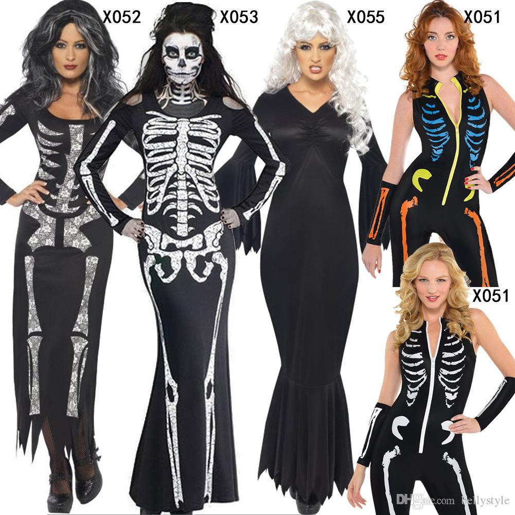 Skeleton Family Halloween Costumes.New Arrival Adult Halloween Party Costume Scary Devil Ghost Cosplay Women Skull Skeleton Prints Leotard Catsuit Costume Dhl 170923