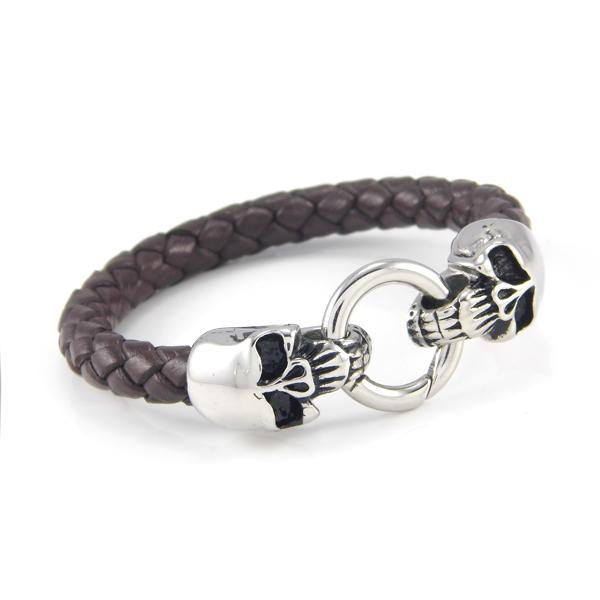 Punk Fashion Men's Jewelry Stainless Steel Skull Bracelet Artificial Braided Genuine Leather Bracelet
