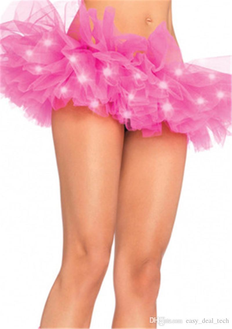 Мода цвета танец светодиодные пачка мини юбка Неон необычные Радуга мини пачка необычные костюм взрослый свет юбка Q0115