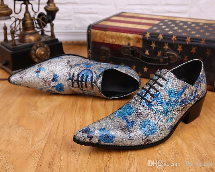 Shine Fashion Tide Mens Shoes High Quality Blue Flower Silver Male Shoes Lace-Up Oxfords Party Ball Dance Casual Genuine Leather Shoes