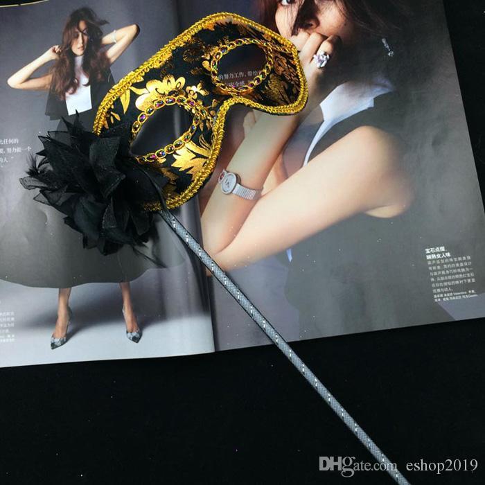 Nowe Maski Party Maski Złoto Cloth Flower Side Venetian Masquerade Party Maska na kij Karnawał Halloween Kostium Mix Kolor Darmowa Wysyłka