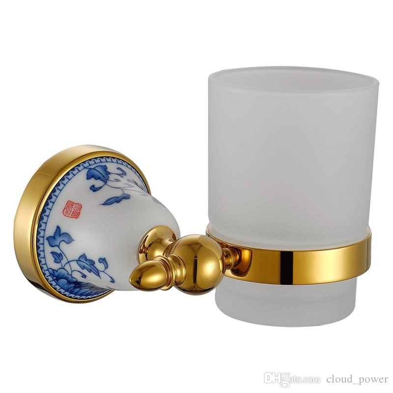 Gold Bathroom Accessories Set Ceramic Base Luxury 304 Stainless Steel and Copper Wall Mounted Soap Dispenser Holder Home Decor