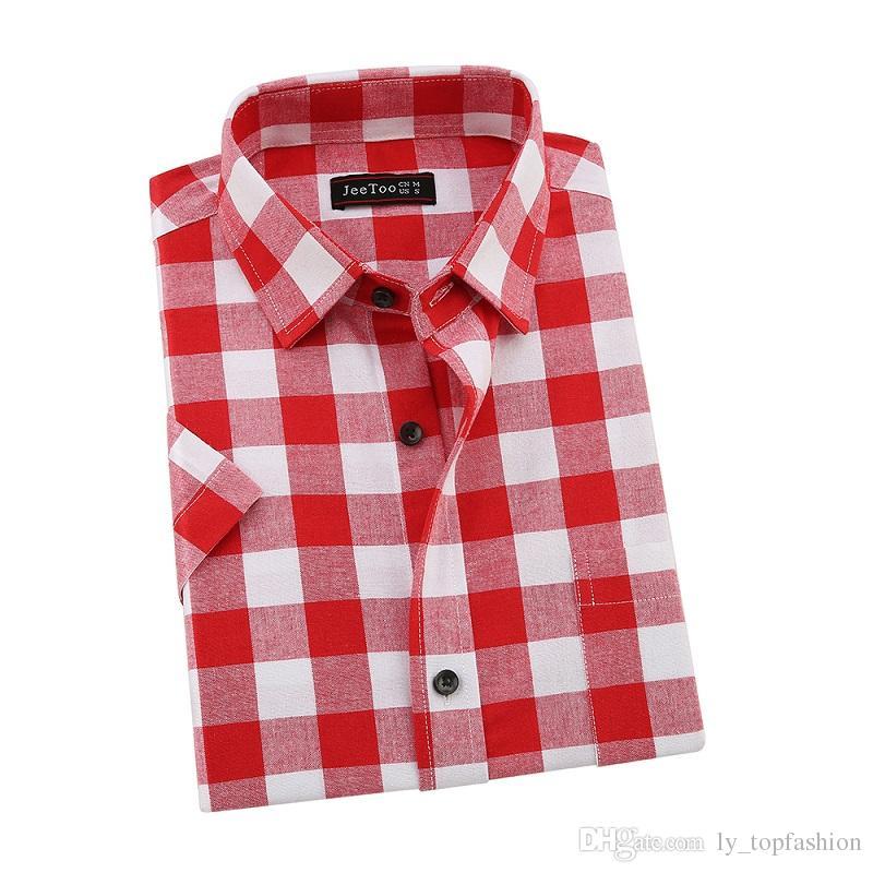 2017 Nova Marca Vermelho E Preto Xadrez Camisas Dos Homens de Manga Curta Camisas Casuais Dos Homens de Verão de Algodão Camisa Xadrez Homens Camisa Plus Size 5XL