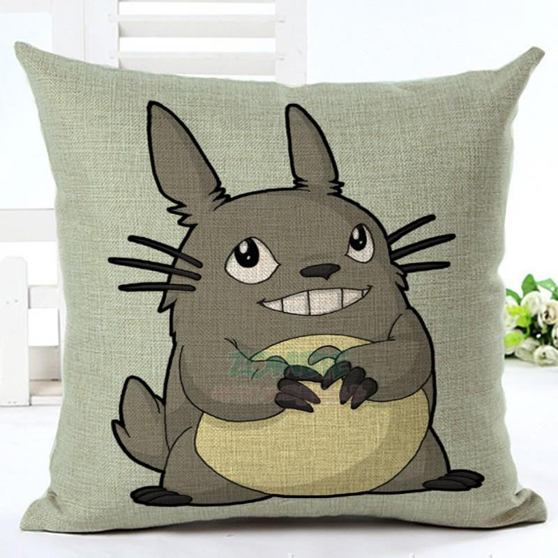 45cm Fanshion Cotton Linen Fabric Throw Pillowcase Cartoon Totoro Hot Sale 18 Inch New Home Coffee House Sofa Back Decor Cushion Cover
