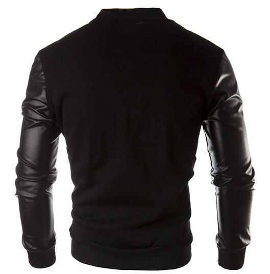 2016 한국어 칼라 PU 가죽 자켓 바느질 야구 유니폼 스웨터 컬러 망 코트