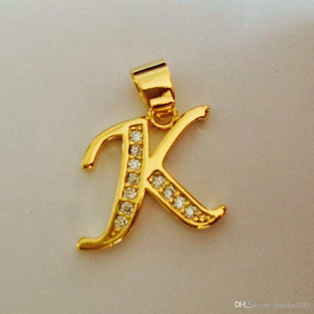 Collana in oro placcato Donna Uomo Capital Initial k Collana a ciondolo in cristallo Collana con lettera di alfabeto di moda in cristallo