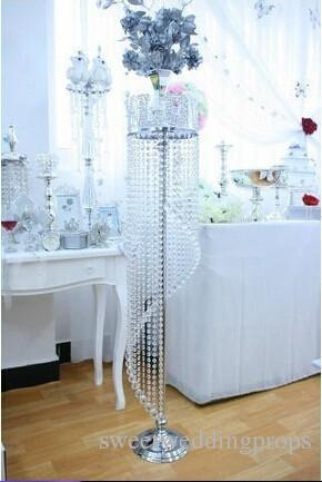 아크릴 크리스탈 결혼식 장식 금속 크리스탈 스탠드 중앙 꽃 선반도 리드 프레임 H120cm 꽃을 포함하지 않음