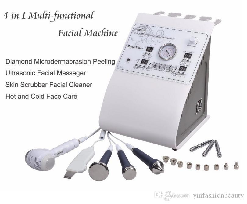 New 4 in 1 Multi-functional Beauty Machine Microdermabrasion Peeling Ultrasonic Skin Massager Skin Scrubber Facial Cleaner