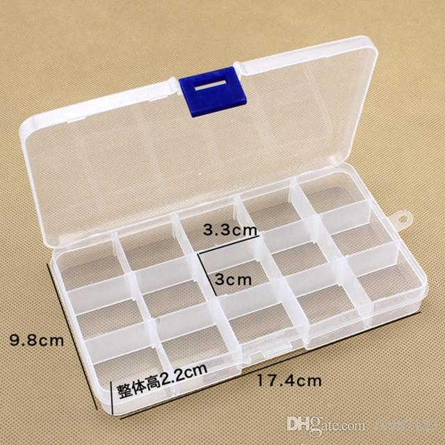 Adjustable 15 Compartment Plastic Clear Storage Box For Jewelry Earring  Tool Container 15 Compartment Plastic Clear Storage Box 15 Compartment  Storage Box ...