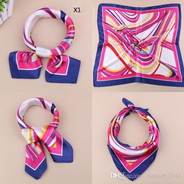 Work Uniforms Imitation Small Silk Scarves Tasteful Women Printing Pattern Square Scarf Satin Towel 60X60CM