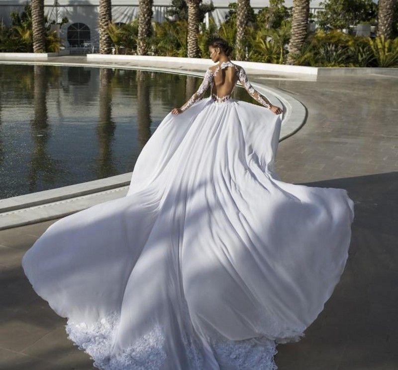 2016 Lace Backless Vestidos De Noiva Sheer Neck Illusion Chiffon Manga Longa Sobre Saia Praia Vestidos De Noiva Vestidos de Casamento Trem Destacável