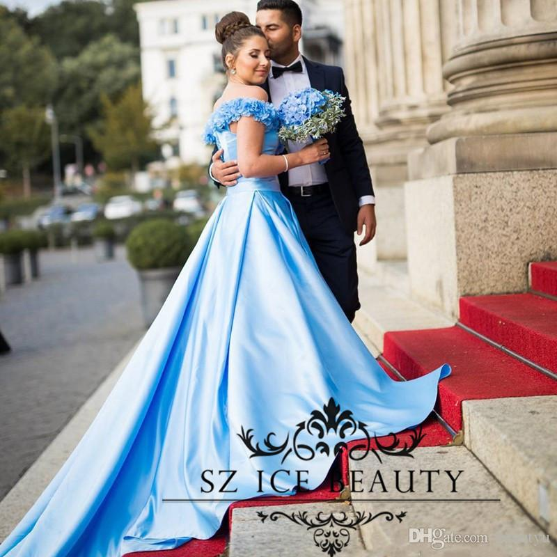 Discount Arabic Middle East Women Colored Wedding Dresses 2017 Sky Blue Ruched Flowers Long A Line Court Train Bridal Gown Cheap