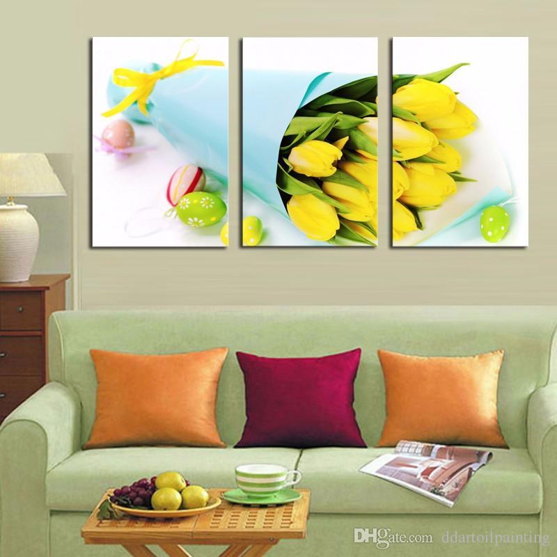 2016 nouvelle arrivée jaune tulipe fleurs peintures 3 pièces imprimées HD toile art photo murale pour la décoration intérieure