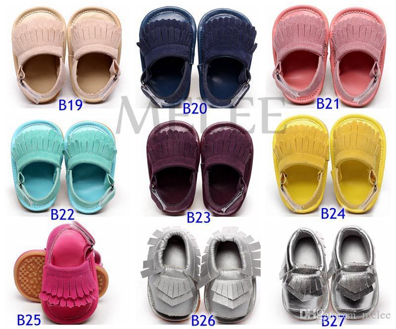 Ny hög kvalitet 2016 Sommar Baby Moccasins Sandaler Mjuka Solor och Elastiska Baby Rubble Skor Prewalker Spädbarn Babies Skor 44 Färger