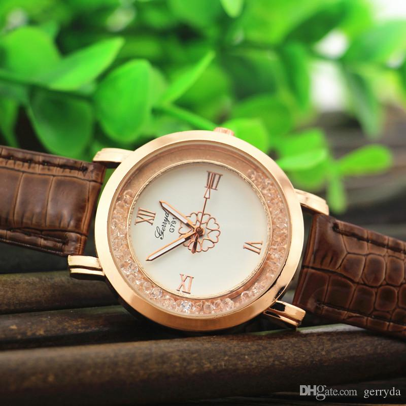 !PVC leather band,gold plate alloy round case,moving sand stone under glass,UP flower dial,gerryda fashion woman lady watch,791