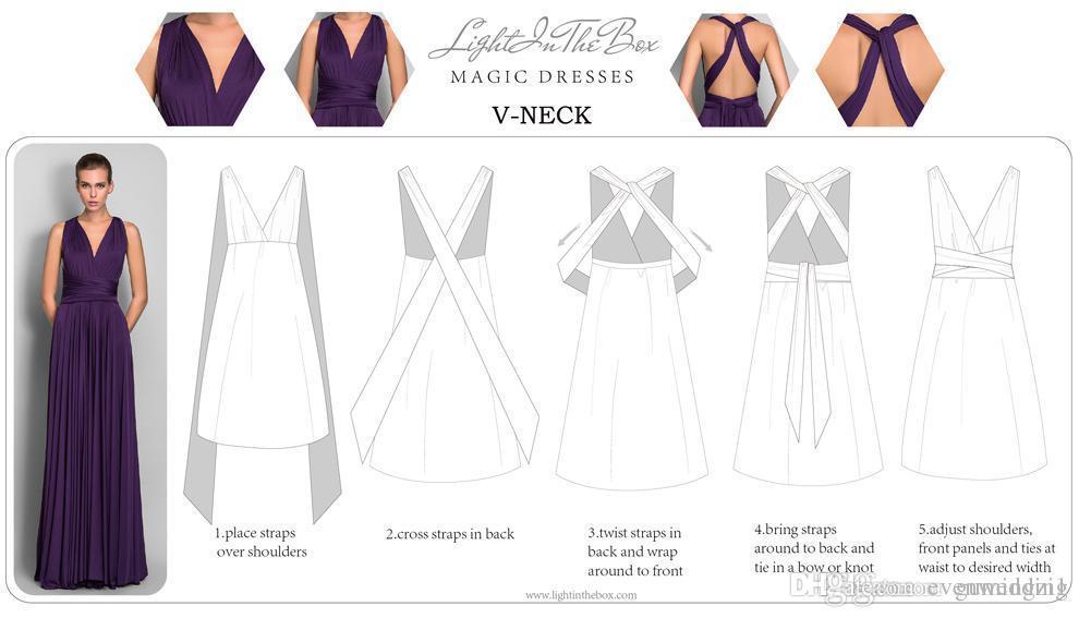 긴 쉬폰 컨버터블 신부 들러리 드레스 2019 새로운 층 길이 웨딩 파티 드레스 맞춤 제작 드롭 배송