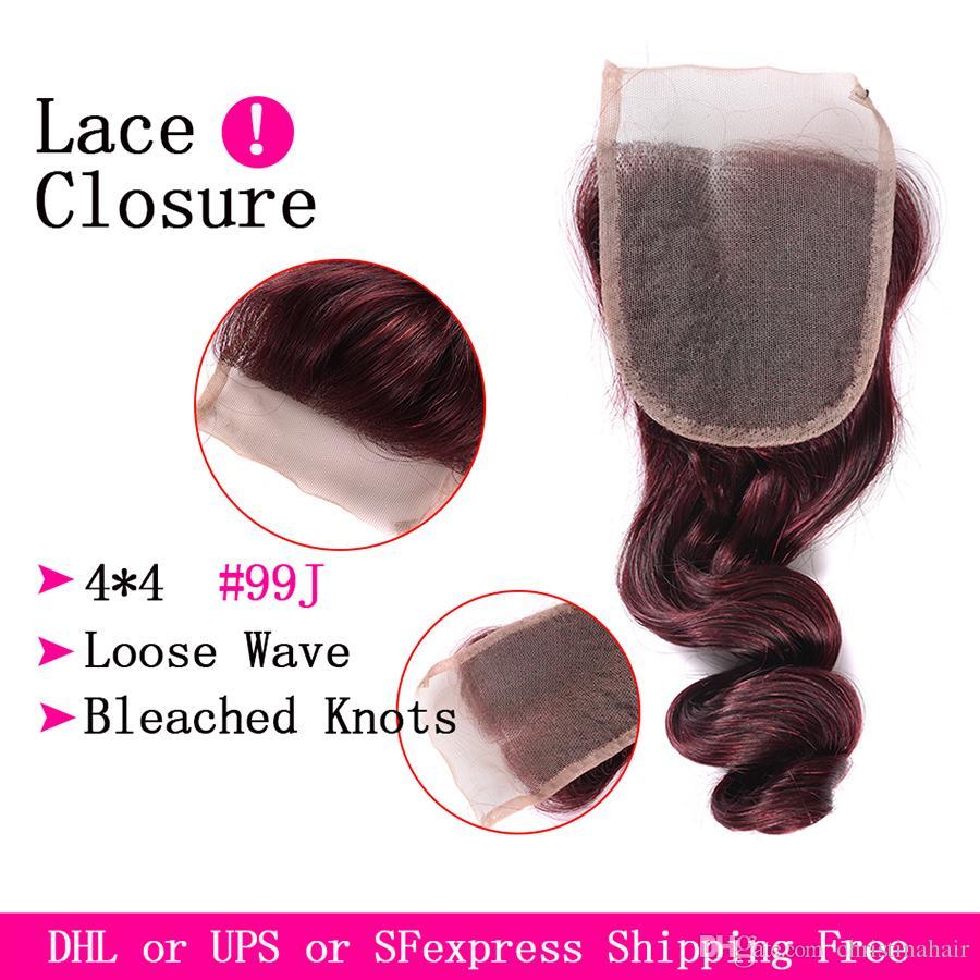 Brazilian Loose Wave Virgin Hair Burgundy 3 Bundles With 4x4 Lace Closure Wine Red #99j Human Hair With Closure Burgundy Hair