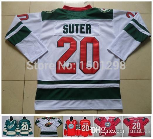 newest 67c52 df46e Men's #20 Ryan Suter Jersey 2013 Minnesota Wild Ice Hockey Jerseys White  Green Red Cheap Ryan Suter Authentic Stitched Jerseys