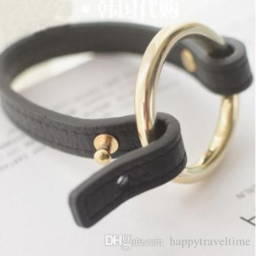 Black Faux Leather Gold/Silver Big Circle Hoop Bracelet Cuff Bangle Womens Fashion Charms Jewelry