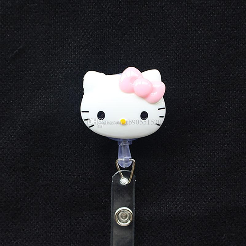 Resin KT Cat Key Ring Retractable Pull Chain with Belt Clip ID Holder Badge Reel Strap Key Chains