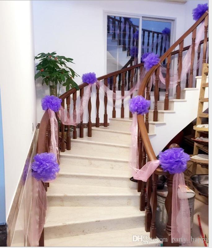 Hochzeit Treppengeländer Dekorative Blumen Ehe Zimmer Dekoration Schneegarn Ball Hochzeit Treppen Dekoration Großhandel
