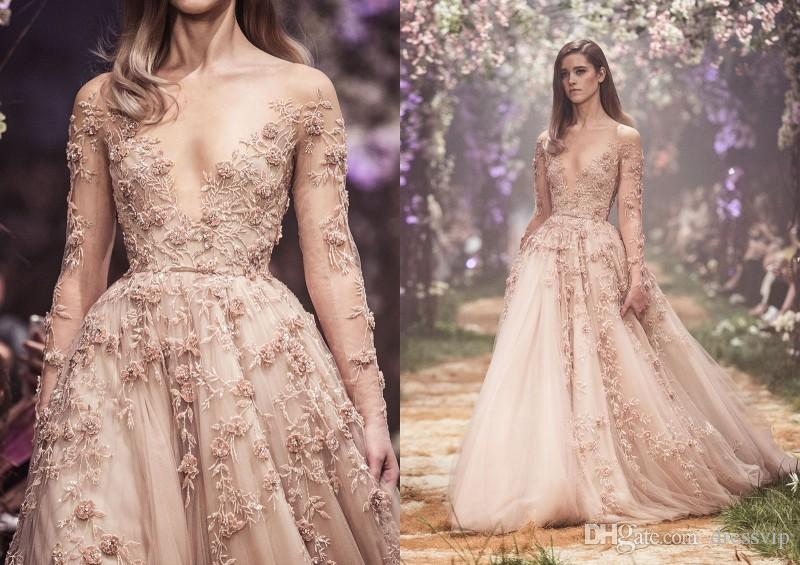 Paolo Sebastian Long Sleeve Evening Dresses Sheer Bateau Lace