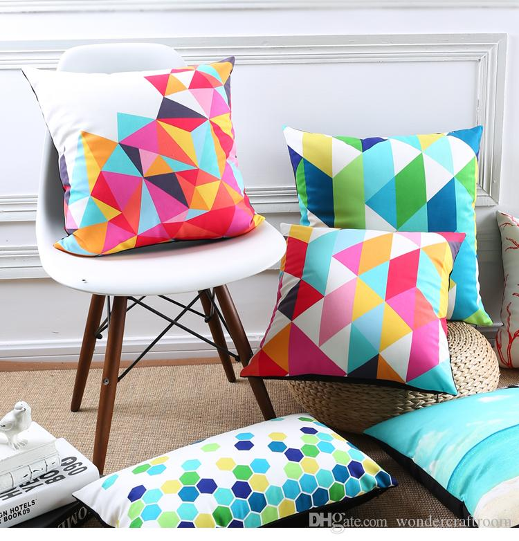 Fantasy Rain Bow Colour Geometric Style Cushion Covers Triangles Hexagon Rhombus Stripe Pillow Cover Decorative Sofa Seat Velvet Pillow Case