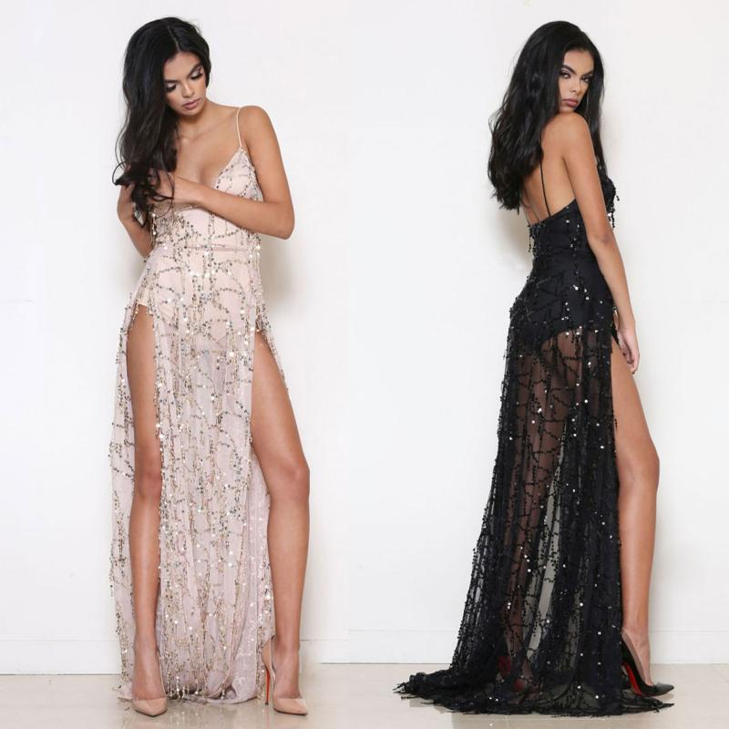 2019 New Arrival Sequin Fringes Maxi Prom Dresses V Neck Sleeveless Split  Long Formal Evening Dress Black Gold Runway Dress Clubwear LJF0808 From  Hhwq105 47ad3fa7bd2c