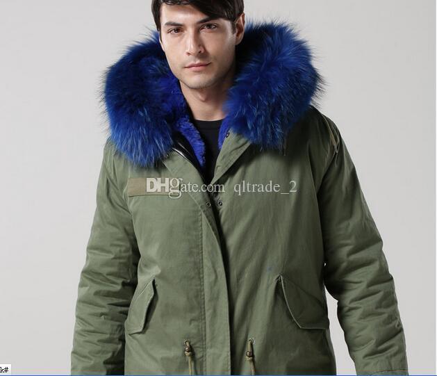 Chaquetas de hombre de estilo largo de la marca meifeng Hombres de invierno Abrigos para la nieve Forro de piel de conejo azul 100% ejército Lienzo verde Parkas largas Piel lujosa