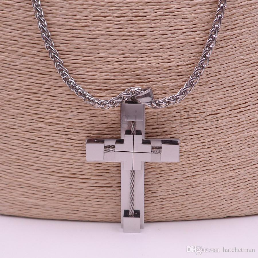 """18-40"""" MENS Stainless Steel cool Silver Wheat chain Link Chain Necklace Cross Pendant"""