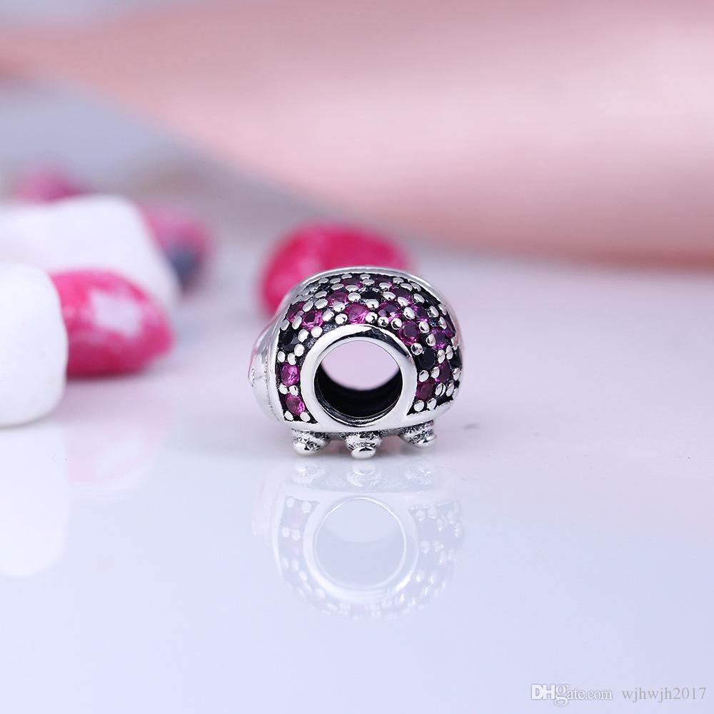Perles nouvelles Ladybird Avec Animaux Pave Cristal Noir Rouge Perle Argent 925 Fine Jewelry Bracelets européens de bricolage Fits Faire HB142