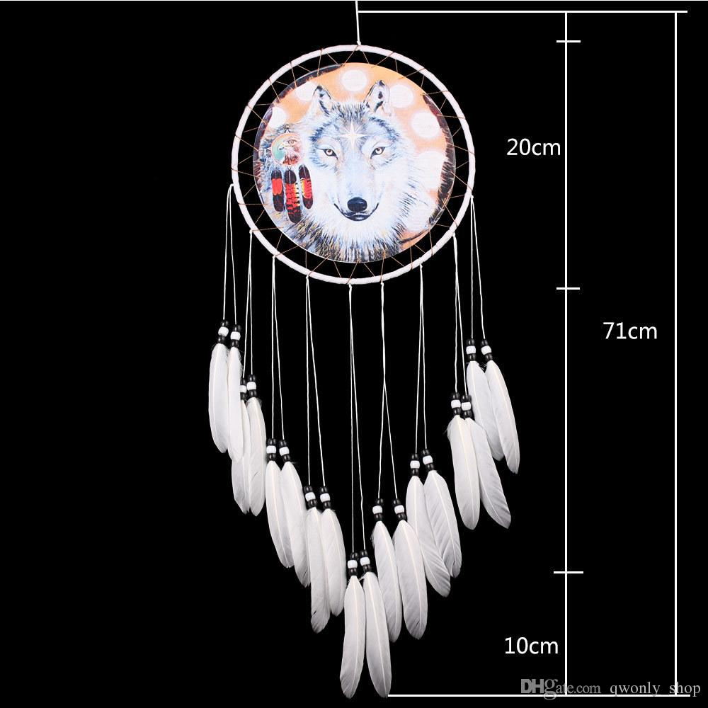 Fatto a mano Dreamcatcher Eagle Wolf Pattern Piuma Bead Dream Catcher Casa Soggiorno Hanging Decor Ornament Art Crafts Gift