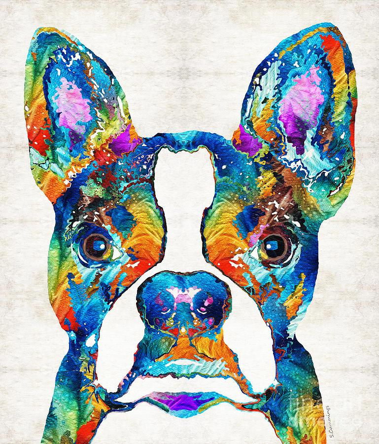 Youme art colorful boston terrier dog Giclee oil painting arts and canvas wall decoration 76x90 cm
