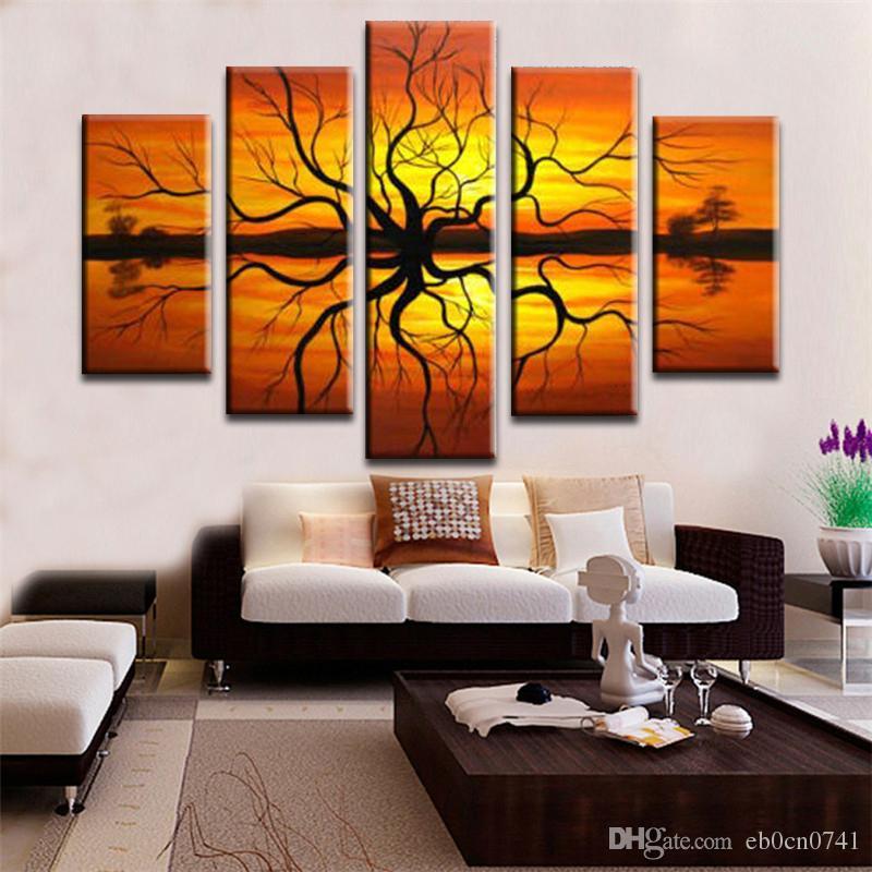 Fantastisch Großhandel 100% Handgemalte 5 Stück / Set Moderne Abstrakte Wand Sonne Rot  Wohnzimmer Dekoration Landschaftsmalerei Von Eb0cn0741, $30.14 Auf  De.Dhgate.