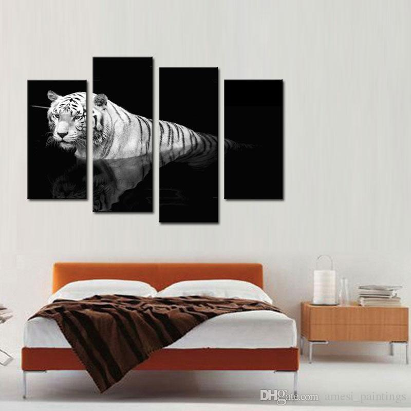 Black & White 4 Panel Wall Art Painting Tiger Prints On Canvas The Picture Animal Pictures Oil For Home Decoration Wall Decor Art Canvas