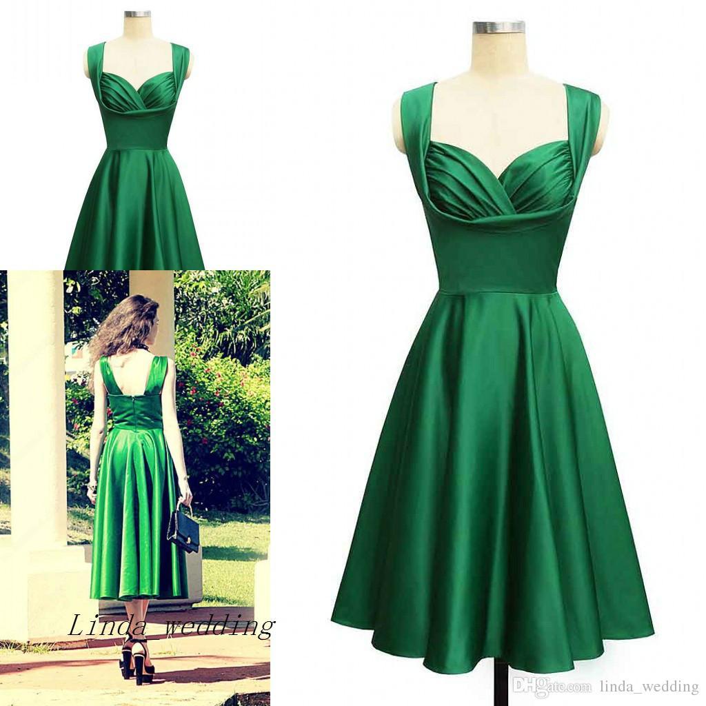 Tea Length Emerald Green Prom Dresses