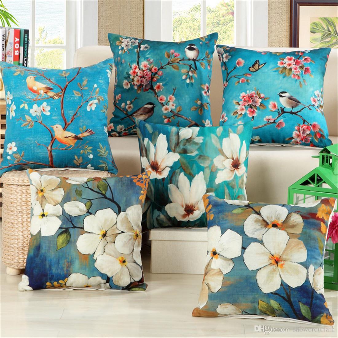 Retro Oil Painting Blue Flowers Birds Cotton Linen Throw Pillow Case