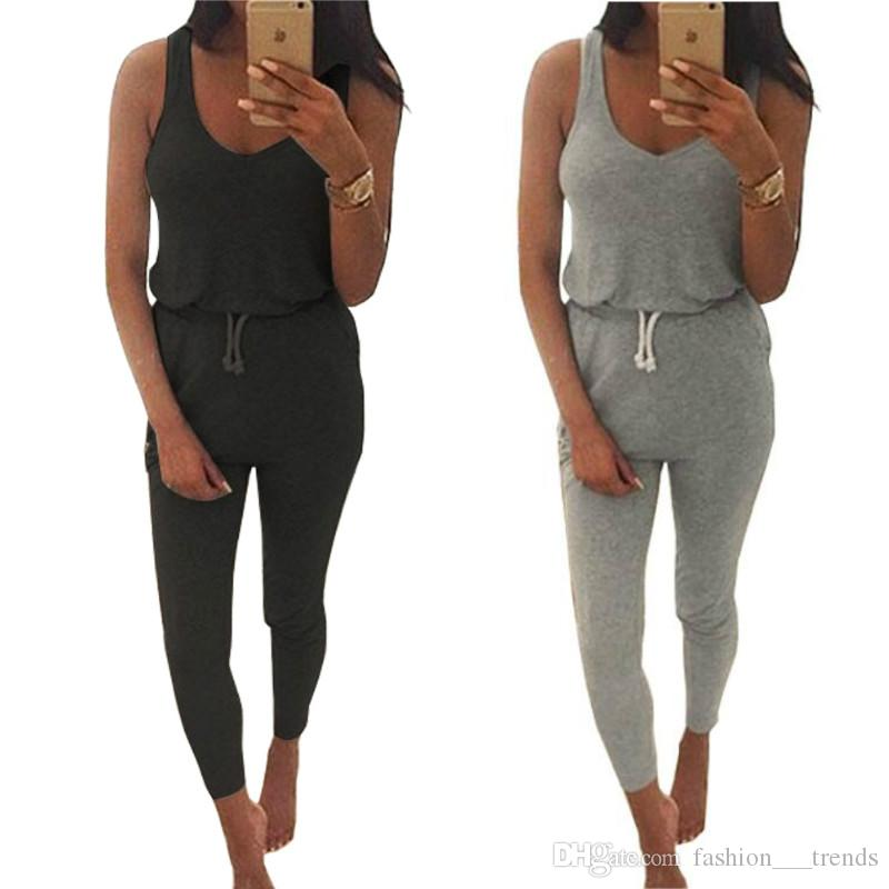 3dc77f18f5c New 2016 Summer Low Cut Rompers Womens Jumpsuit Black Gray Elastic Waist  Sleeveless Long Pants Playsuit Strap Pocket Overalls Plus Size S-XL Summer  Low Cut ...