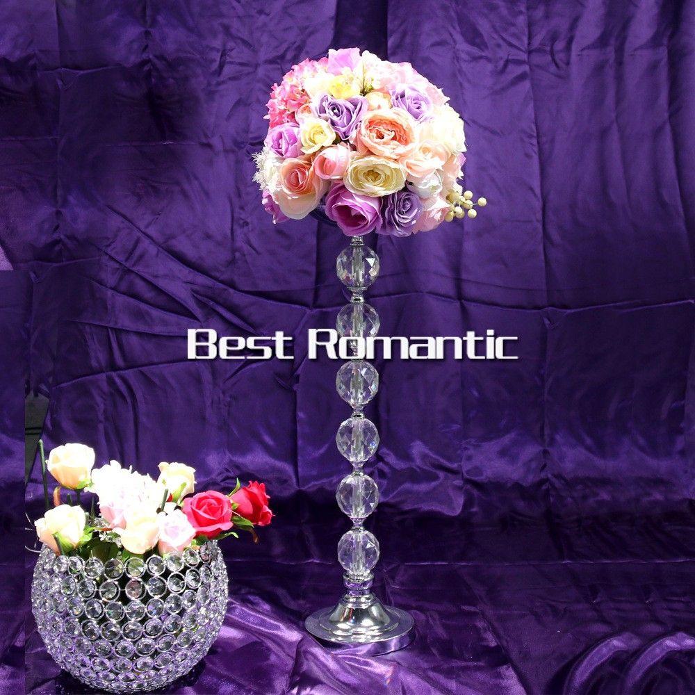 Düğün iyilik ucuz akrilik kristal çiçek standı centerpieces toptan