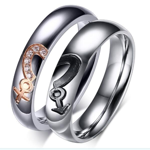 Cubic Zirconia Diamond Couple Rings With Rose Gold Female Symbol And