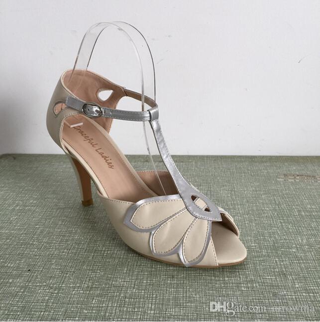 Vintage Elfenbein Hochzeit Schuhe Hochzeit Pumps Mimosa T-Straps Schnallenverschluss Leder Party Dance 3,5