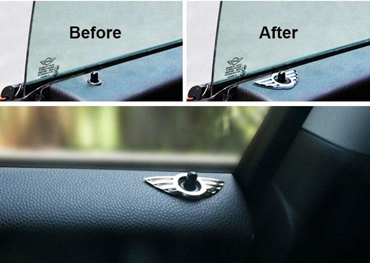 10 adet / grup Araba Styling Insignia Amblem Kanat Alaşımlı Mini Sticker Dekorasyon BMW Mini Cooper R55 R56 R57 R58 R59 Kapı Kilidi Topuzu